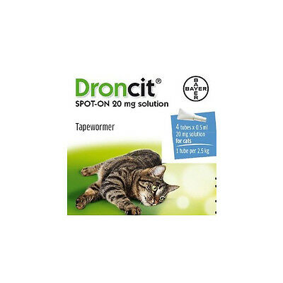 Droncit Spot On Cat Wormer - Pack of 4 Tubes - Tapeworm Worming Treatment