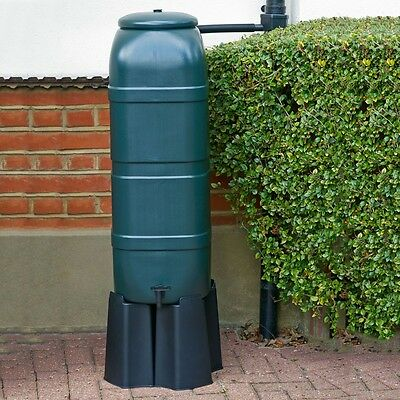 Slim Line 100L Water Butt Kit Including Tap, Stand & Diverter Green Plastic