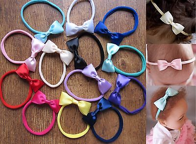 Baby Girls Skinny Satin Bow Soft Elastic Headband Hair Band Accessories