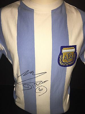 Signed Retro Argentina Home Shirt By Diego Maradona 1978