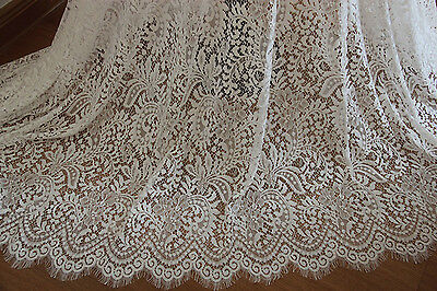 "Eyelash Lace Fabric White Floral Cotton Embroidered Bridal 59"" width 1 yard"
