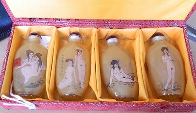 Very Nice Set Chinese Erotic Perfums , Hand Painted Inside , Total 4 Bottle
