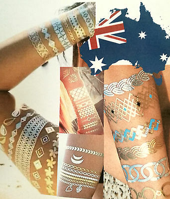 Flash Tattoo Temporary Popular gold silver Hot Metallic Henna Jewellery Tattoos
