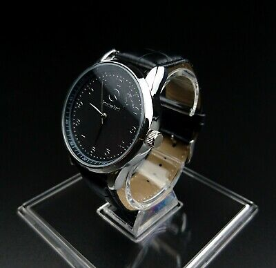 Mercedes Benz Mens Watch Stainless Steel Black Leather Strap - White Face