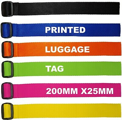 Personalised Luggage Tag, Suitcase, Bag Name Tag Printed - 200mm x 25mm Strap