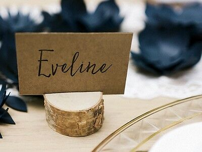 6 Wooden Natural Wedding Place Card Holders Tree Trunk Rustic Wedding Decoration