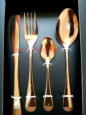 16 Piece Rose Copper Cutlery Set  Forks Spoons NEW