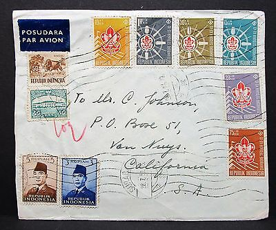 Indonesia Cover Airmail to USA California Indonesien Luftpost Brief MiF (I-7531