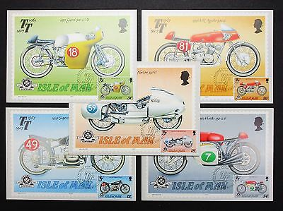 Isla of Man Stamp Five Postcards Motorcycle 5 x AK mit Motorrad Motiven (I-7996