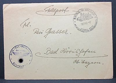 Poland Breslau Field Post Cover Feldpostbrief nach Bad Wörishofen 1943 (I-7941