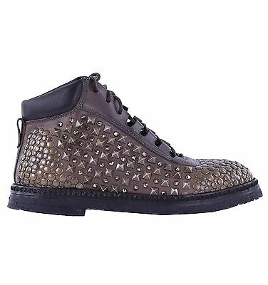 DOLCE /& GABBANA RUNWAY Derby Velour Shoes with Studs /& Strass Black 04903