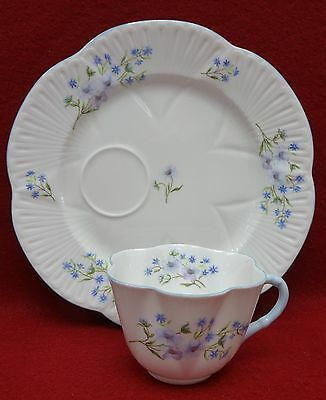 SHELLEY china BLUE ROCK 13591 Dainty Shape Round Snack Plate & Cup Set