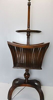 Antique English Regency style  mahogany floor lamp With Magazine Stand