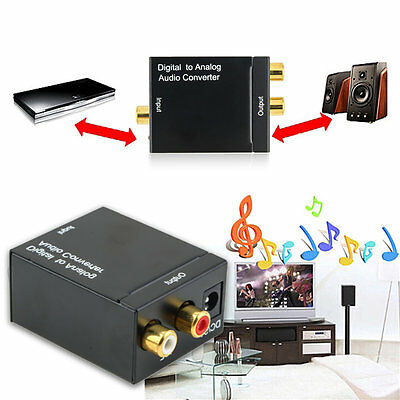 Digital Optical Coaxial Toslink Signal to Analog Audio Converter Adapter RCA #T