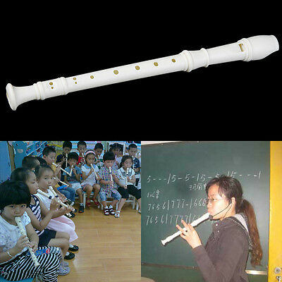 White ABS Resin Instrument 3 PCS 8 Holes Musical Soprano Recorder Long Flute GT