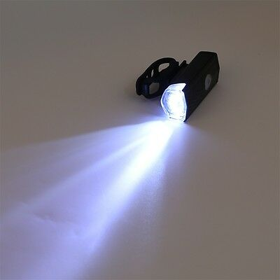 USB Rechargeable Bike Head / Front White Light Lamp Black Bicycle Cycling ~T