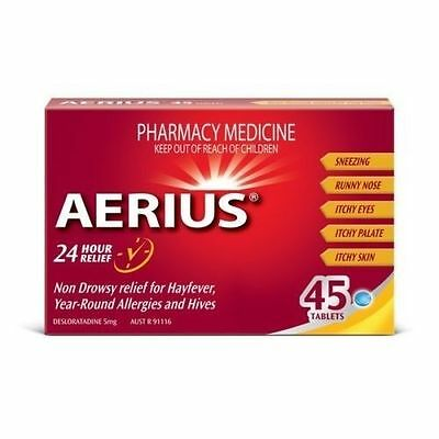 ~ AERIUS 45 TABLETS HAYFEVER DESLORATADINE 5mg ALLERGIES HIVES