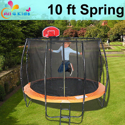 10 FT Round Spring Trampoline with Ladder Safety Net & Basketball Board