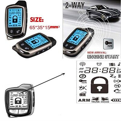 2 Way Car Alarm Security System With LCD Super Long Distance Controler Antitheft
