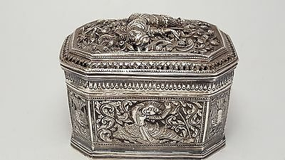 Early Mid 20th Century Silver Oblong Box And Cover Appears Malay Or Burmese