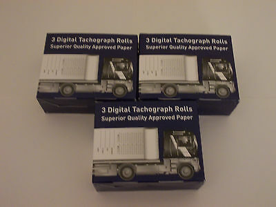 9 Digital Tachograph Printer Rolls (3 Packs of 3 Premium Quality Paper ) HGV,PCV
