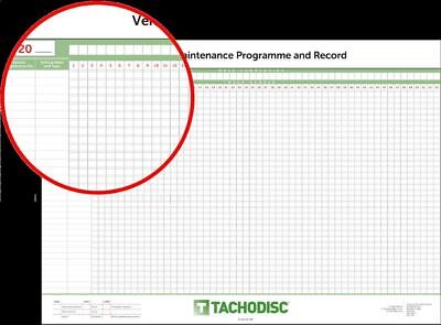 Vehicle maintenance wallchart. Tachograph product. For up to 28 vehicles HGV/PSV