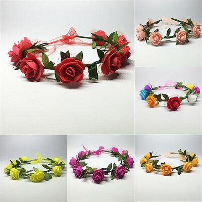 Girl Rose Flower Foam Headband Hair Band Crown Party Festival Garland