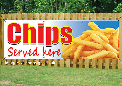 CHIPS SERVED HERE TAKEAWAY BANNER OUTDOOR SIGN waterproof PVC with Eyelets 001