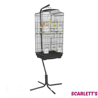 Large Lotus Budgie Cockatiel Finch Bird Parrot Cage & Black C7 Stand …