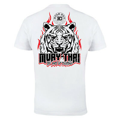 T-Shirt Mma Muay Thai Tiger Casual Wears Running Mma Training 100% Cotton White