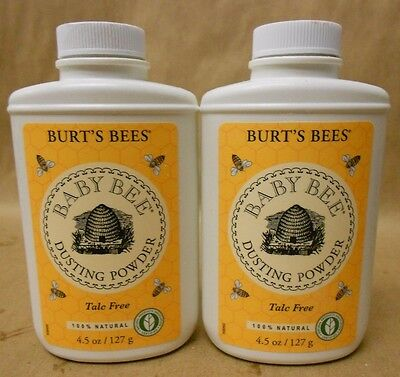 Burts Bees Baby Bee Talc Free Dusting Powder 4.5 Oz Lot Of Two New Unused
