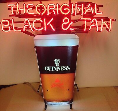 "Guinness Bass ""The Original Black & Tan"" Beer Neon Light Sign"