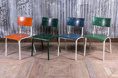 Vintage Colourful Stacking Dining Chairs Industrial School Chairs