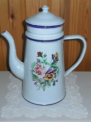 ANTIQUE VINTAGE FRENCH ENAMELED BIGGIN COFFEE POT -ROSES & PANSY FLOWERS- 1920's