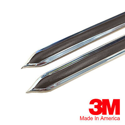 "Vintage Style 5/8"" Brown & Chrome Side Body Trim Molding - Formed Pointed Ends"