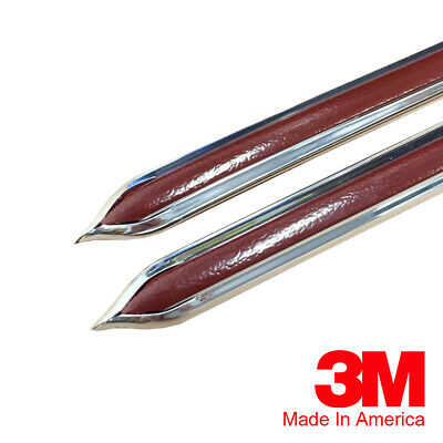 "Vintage Style 5/8"" Maroon & Chrome Side Body Trim Molding - Formed Pointed Ends"