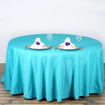 "Turquoise 108"" Seamless Polyester Round Tablecloth ~NEW~ Wedding Party Banquet"