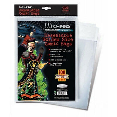 10 Ultra Pro Golden Size Resealable  Storage Bags And Boards  Brand New