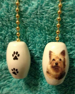One Yorkie Dog Fan Pull With Paw Prints On The Back 1""