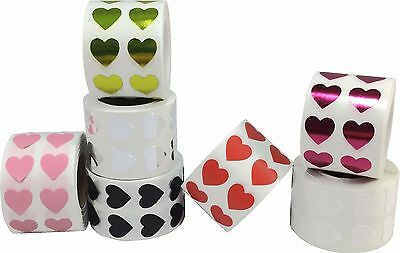 Heart Stickers, 1/2 Inch Wide Labels, 1000 Labels on a Roll, 18 Color Choices