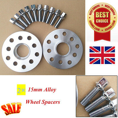 2pc 15mm Alloy Wheel Spacers Spacer Kit 5x100/112 57.1 WITH OEBolts FOR Audi VW