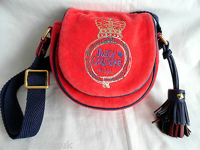 JUICY COUTURE   Red/Navy Velour Small Cross-Body Bag  BNWT