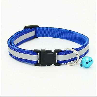 Pet/Cat/Kitten Reflective Cat Collar Blue Glossy Safety Buckle Bell Adjustable