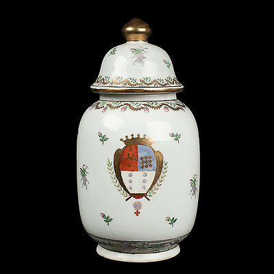 China 20. Jh. Wappen Teedose - A Chinese Porcelain Armorial Tea Caddy - Chinois