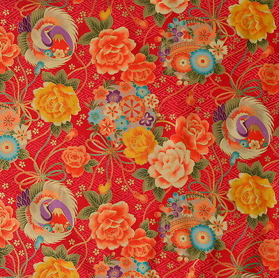 Japanese Fabric !00% Cotton Red Crane Floral By Half Metre 50cm CF94