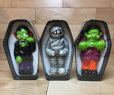 "Lot of 3 Zombies Candle In Metal Coffin 5"" x 3""  - New!"