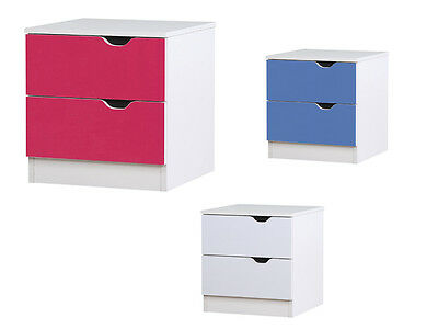 Kids Bedside Cabinet 2 Drawer Chest White Pink Blue High Gloss Metal Runners
