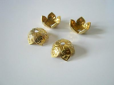 20 Copper Flower Bead Caps, 9mm, Jewelry Making Supplies