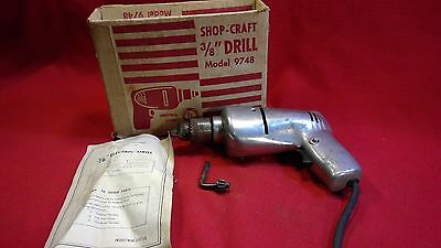 """Vintage All Metal Shop-Craft Corded 3/8"""" Drill Driver 9748 - WORKING"""