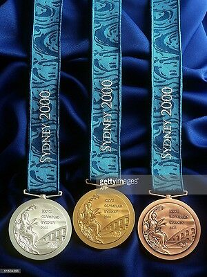2000 Sydney Olympic Medals Set: Gold/Silver/Bronze with Silk Ribbons & Display !